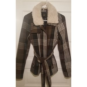 Jack. brown plaid coat